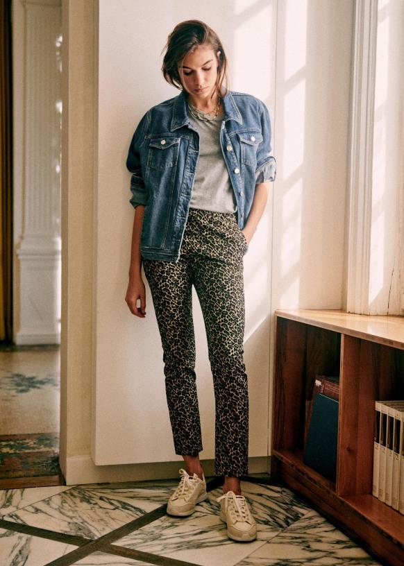 Clara Trousers Leopard Jacquard Brown Cotton Sezane