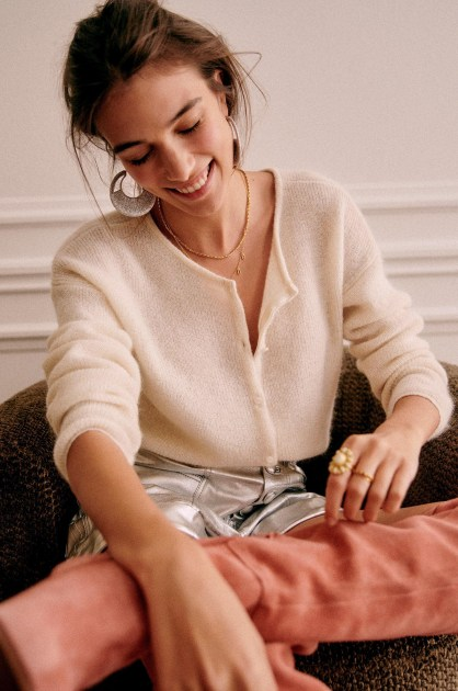 Johnny Jumper by Sezane, available on sezane.com for $130 Bella Hadid Outerwear Exact Product