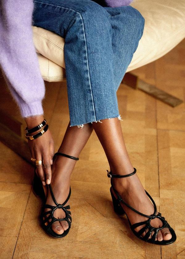 Sandales irisées avec jeu de fines brides cheville